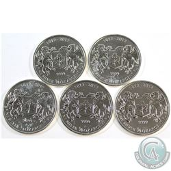 RCM Issue: 1812-2012 Canada $1 3/4oz War of 1812 .9999 Fine Silver Coins (toned). 5pcs (TAX Exempt)