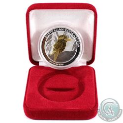 Perth Mint Issue: 2014 Australia $1 Gilded Kookaburra Encapsulated in Red Display Box (capsule scuff