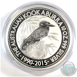Perth Mint Issue: 1990-2015 Australia 10oz .999 Fine Silver Kookaburra in Capsule (scuffed capsule).