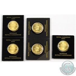 RCM Issue: 2015 1 Gram .9999 Fine Gold Maple Leafs in Hard Plastic RCM Holders. 5pcs (TAX Exempt)