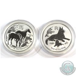 Perth Mint Issue: 2014 Year of the Horse & 2018 Year of the Dog Australia Lunar Series .999 Fine Sil