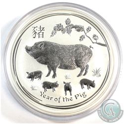 Perth Mint Issue: 2019 Australia $8 Year of the Pig .999 Fine Silver Coin in Capsule (lightly scratc