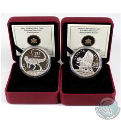 Pair of Canadian Dinosaurs $20 Fine Silver Coins - 2013 Bathygnathus Borealis & 2014 Scutellosaurus