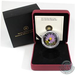 2012 Canada $20 Aster with Venetian Glass Bumble Bee Fine Silver Coin (label on sleeve is worn). Tax