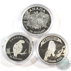 2011 Canada $10 Peregrine Falcon, 2013 $20 The Beaver & 2014 $5 Bank Notes: Lion on the Mountain Fin