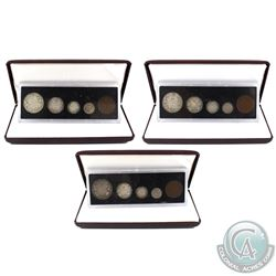 1917, 1918 & 1919 Canada 5-coin Decimal Sets in the Burgundy Display Cases. 3pcs