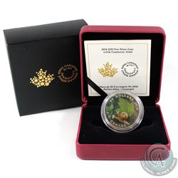 2016 Canada $20 Little Creatures - Snail With Murano Glass (toned). Tax Exempt