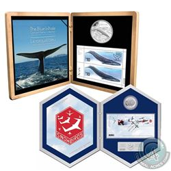 2006 Canada $5 Snowbirds Coin and Stamp Set & 2010 Canada $10 Blue Whale Sterling Silver Coin and St