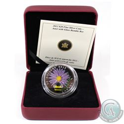 2012 Canada $20 Aster with Venetian Glass Bumble Bee Fine Silver Coin (missing outer sleeve). Tax Ex