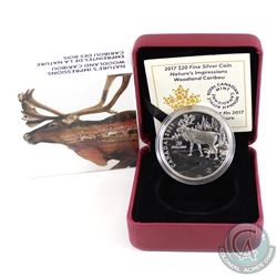 2017 Canada $20 Nature's Impressions - Woodland Caribou Fine Silver Coin (Tax Exempt)