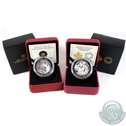 2013-2014 Canada $20 Untamed Canada - Arctic Fox & Wolverine Fine Silver Coins (Tax Exempt). 2pcs