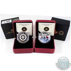 2011 Canada Winnipeg Jets & 2014 Pond Hockey $20 Fine Silver Coins (Tax Exempt). 2pcs