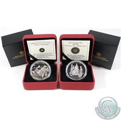 2007 Holiday Sleigh Rides & 2008 Holiday Carol $20 Fine Silver coins. 2007 is toned and capsule crac