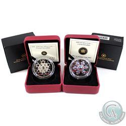 2008 Amethyst Crystal Snowflake & 2009 $20 Pink Crystal Snowflake $20 Fine Silver Coins. 2008 Capsul