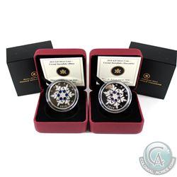 2010 Blue Crystal Snowflake & 2010 $20 Tanzanite Crystal Snowflake $20 Fine Silver Coins. 2pcs (TAX