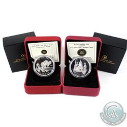 2008 Agriculture Trade & 2009 Holiday Carol $20 Fine Silver Coins (coins are lightly toned). 2pcs