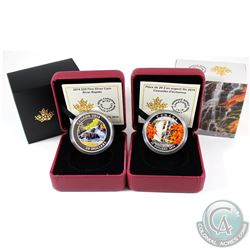 2014 Canada $20 Autumn Falls & 2014 $20 River Rapids Fine Silver Coins (Tax Exempt). 2pcs
