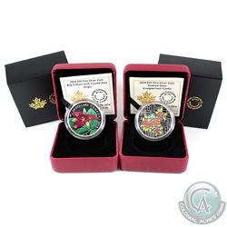 2014 Canada $20 Stained Glass:Craigdarroch Castle & 2014 Canada $20 Swarovski Crystals - Red Trilliu