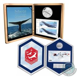 2010 $10 Sterling Silver Blue Whale & 2006 Canada $5 Snowbirds Coin and Stamp Sets issued by the Roy