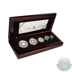 2003 Hologram 5-coin Silver Maple Leaf Set (Tax Exempt). Coins comes encapsulated with display box a