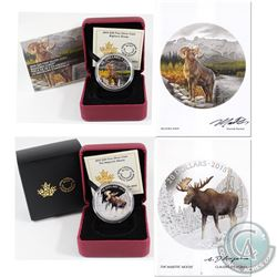 SIGNED 2015 Canada $20 Majestic Animals Fine Silver Coins - The Majestic Moose & Bighorn Sheep. Both