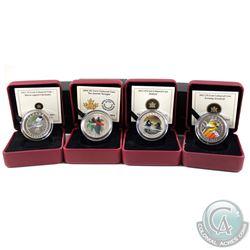 2011-2014 Canada coloured 25-cent coins: 2011 Black-Capped Chickadee, 2012 Evening Grosbeak, 2013 Ma
