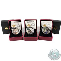 3x 2016 Canada $20 Baby Animals Series Fine Silver coins: Caribou, Common Loon & Raccoon (coins are