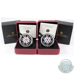 2008 Amethyst & Sapphire $20 Crystal Snowflake Fine Silver Coins (Tax Exempt). 2008 Amethyst has som