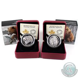2015 Canada $20 Grizzly Bear Series Fine Silver Coins - The Catch & Togetherness (Tax Exempt). 2pcs