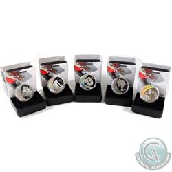 5x 2007 Vancouver Olympic $25 Sterling Silver coins: 2007 Athletes Pride, 2007 Alpine Skiing, 2007 C