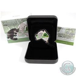 Perth Mint Issue: 2013 Australia $1 Map Shaped - Platypus 1oz Fine Silver Coin (coin is toned around