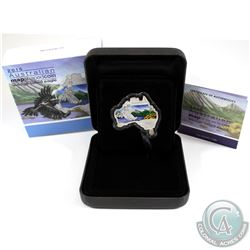 Perth Mint Issue: 2015 Australia $1 Map Shaped - Wedge-Tailed Eagle 1oz Fine Silver Coin (coin is li