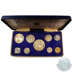 Royal Mint Issue: 1966 Bahamas 9-coin Proof Set in Original Blue Display Case. Comes with original a