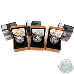 3x 2015 Canada $10 NHL Goalies Fine Silver Coins - Johnny Bower, Eddie Giacomin & Glenn Hall. 3pcs (