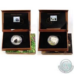 2015 Canada $20 The Mountain Goat & 2016 $20 The Porcupine Baby Animals Fine Silver Coin and Stamp S