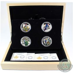 2016 Canada $15 National Heroes 4-coin Set & Deluxe Box (outer sleeve is lightly bent). Tax Exempt