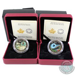 2017 Canada $20 Under the Sea Murini Glass Element Fine Silver Coins - Seahorse & Turtle (coins are