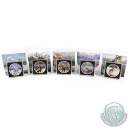 Lot of 5x Canada $20 Fine Silver Coins - 2015 Majestic Elk, 2015 Bighorn Sheep, 2015 Imposing Alpha