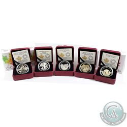 5x 2014 Canada $25 O Canada Series Fine Silver Coins - The Igloo, Canadian Rockies, Under the Maple