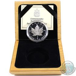 1989 Canada Proof 1oz. Fine Silver Maple Leaf in Wooden Box with COA (capsule is scratched). Tax Exe