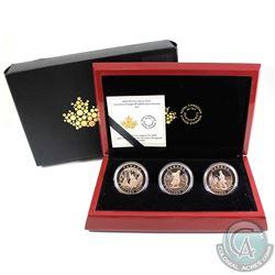 2015 Canada $5 Cornelius Krieghoff 200th Anniversary 3-coin Fine Silver Set (coins are toned, capsul