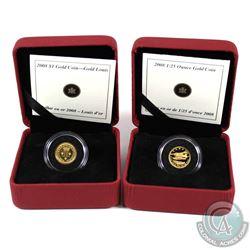 Pair of 2008 Canada Fine Gold Coins - 50-cent De Havilland Beaver & $1 Gold Louis Encapsulated in Re