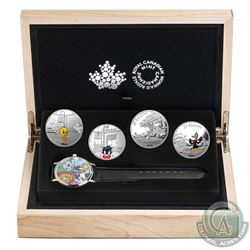 2015 Canada $20 Looney Tunes Classic Scenes 4-coin with Watch (outer sleeve is bent). Tax Exempt