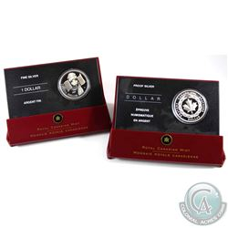 2005 Canada 40th Anniversary of National Flag & 2006 Medal of Bravery Proof Fine Silver Dollars Enca
