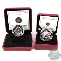 2004 & 2008 Canada Special Limited Edition Poppy Proof Silver Dollars Encapsulated in RCM Display Bo