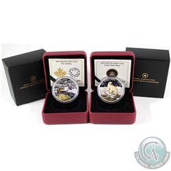 2014 Canada $20 The Caribou & $20 Ionic Polar Bear Colourized Fine Silver Coins. 2pcs (TAX Exempt)