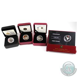 4x 2006-2014 Canada $1 Lucky Loonie Silver Coins Encapsulated in RCM Display Boxes. You will receive