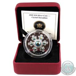 2009 Canada Blue Version $20 Crystal Snowflake Fine Silver Coin Encapsulated in Red RCM Display Box
