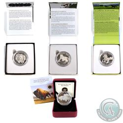 4x Canada $100 for $100 Fine Silver Coins - 2013 Bison Stampede, 2015 Muskox, 2015 Canadian Horse &