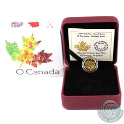 2014 $5 O Canada Grizzly Bear Pure Gold Coin (outer sleeve dented on corner). Tax Exempt